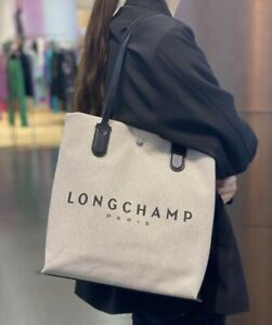 NEW Longchamp ROSEAU Tote Canvas Ecru Shopping Bag