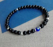 Mens 925 Sterling Silver stretch Bracelet Onyx  EVIL EYE symbol amulet talisman