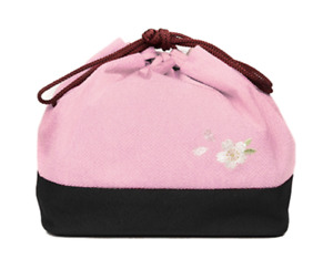 Japanese Traditional Kimono Yukata Hakama Small Pouch Bag Kinchaku Pink Sakura