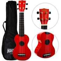Left Handed Mahalo Soprano Ukulele Red & Case