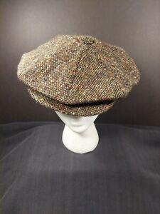 City Sport Donegal Tweed Wool Apple Newsboy Cap 58 (7 1/4) Ireland Brown