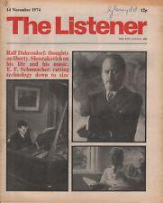 THE LISTENER (14 November 1974 SHOSTAKOVICH ON HIS LIFE & MUSIC - E.F.SCHUMACHER