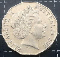 2010 AUSTRALIAN 50 CENT COIN - PARTIAL TILTED COLLAR RIM SPLIT ERROR STRIKE CUD