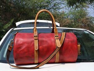 "20"" Buffalo Leather Duffle Bag Sports Gym Yoga Fitness Travel Luggage Handbags"