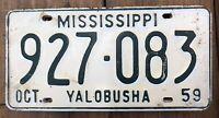 1 Antique Vintage 1959 Mississippi Car Tag License Plate Green White Yalobusha