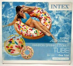 Inflatable Rainbow Sprinkle Donut Pool & Beach Floatv 45 Inch (1.14 M) 14+ Years