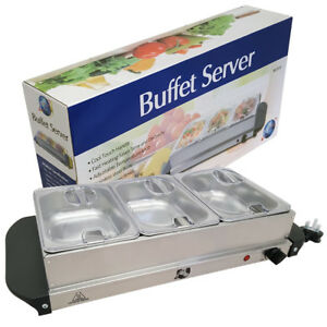 200W TEMPERATURE ADJUSTABLE HOT PLATE TRAY S/S STEEL FOOD WARMER BUFFET SERVER