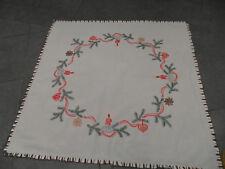 Tischdecke Weihnachten Handarbeit ca. 75x75 weiß Baumwolle Herz Kerze Tanne