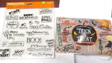 Halloween and word stamps lot fiskars trick or treat cat holidays phrases bats