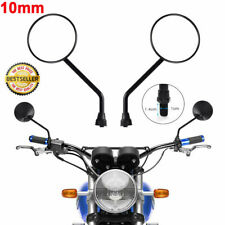 2pcs 10mm Universal Motorcycle Mirrors Scooter Motorbike Rear View Side Wing UK