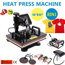 8 In 1 Heat Press Transfer Digital Machine Sublimation Mug Plate Cap 15 x 12Inch