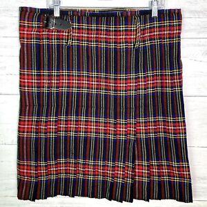 NEW Scottish Design Tartans Plaid Kilt Men's Size 38 Red Black Blue Yellow Green