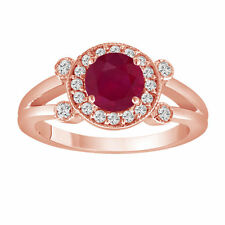 Red Ruby Engagement Ring 14K Rose Gold 1.12 Carat With Side Diamonds Unique