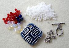 Ceramic Opalite Czech Glass Silver Pendant Focal Beads Kit DIY Jewelry Making