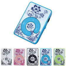 Clip Flower Pattern MP3 Player Music Media Support Up To 32GB Micro SD TF Card