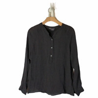 Vince Black Printed Silk Popover Button-Down Long Sleeve Blouse Size Small