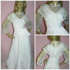 VINTAGE 70s WHITE LACE VICTORIANA MAXI WEDDING DRESS 10 S BOHO RUFFLE BIB