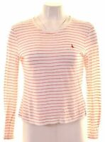 JACK WILLS Womens Top Long Sleeve UK 8 Small White Striped Cotton  CX08