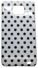 Hülle Samsung Galaxy S2 Cover Schwarz Gepunktet Weiß ohne Deckel Kunststoff