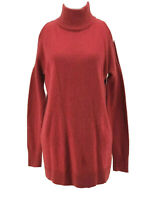 Halogen Women's Red Cold Shoulder Long Sleeve Tunic Sweater Size Small