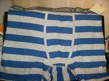 1 PR. LUCKY BRAND MONACO BLUE & GRAY STRIPE COTTON KNIT BOXERS~NWT~SIZE SMALL