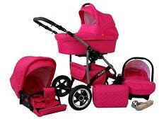 Kinderwagen Qbaro, 3 in 1- Set Wanne Buggy Babyschale Autositz Amarant