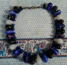 African Wedding Bead NECKLACE Old Mali Glass  Bead Jewelry Blue Black Purple