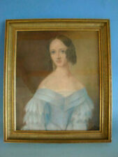 RS0919-246: Biedermeier Gemälde Pastell Portrait Mädchen um 1800