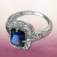 """NEW - SILVER - """"BLUE CRYSTAL STONE"""" - FASHION RING (24 MONTHS FULLY GUARANTEED)"""