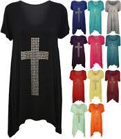 New Womens Plus Stud Cross Hanky Hem Tunic Ladies Short Sleeve Long Top 12 - 30