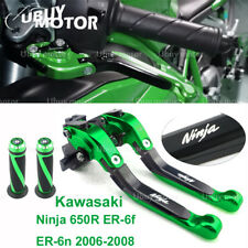 Adjustable Levers with Grips For Kawasaki Ninja 650R ER-6f ER-6n 2006-2008 green