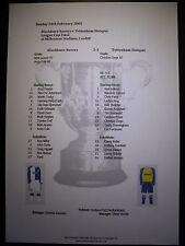 2002 League Cup Final Blackburn Rovers v Tottenham Hotspur Matchsheet