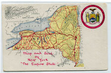 Map & Seal of New York The Empire State NY 1910s postcard