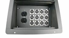 Recessed Stage Floor Box with 12 XLR 3pin Female Connectors & Duplex AC Outlet