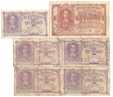 More details for 6x 1915 issue belgium german occupation wwi 1 & 2 francs banknotes 1917 1918