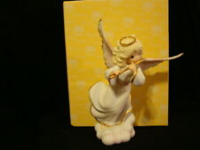 """New ListingPrecious Moments-Angel Playing Flute-Over 9"""" Tall-2'nd In Heaven's Grace Series"""