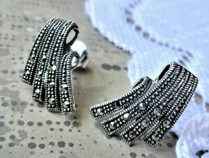 My S Collection 925 Sterling Silver & Marcasite Stud Earrings