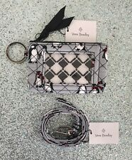 NEW Vera Bradley |  Playful Penguins Gray Iconic Zip ID Case and Lanyard
