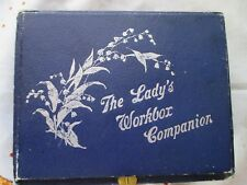 Antique sewing box thread kit lady's workbox companion mother of pearl tools