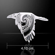 Celtic Raven .925 Sterling Silver Pendant by Peter Stone