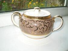 Sadler Lidded Sugar Bowl Gilt Jigsaw Design Vintage British