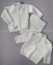 Knitting PATTERN to make Baby Toddler Crew Cardigan Slip-on Sweaters Embroidery