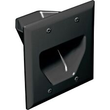 2-Gang Recessed Black Wall Plate Low Voltage Pass Through Speaker Surround Cable
