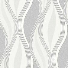 Direct E62019 Metallic Waves Soft Grey White Textured Vinyl Wallpaper