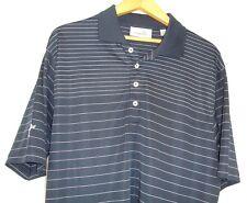 Ashworth Mens Short Sleeve Blue White Stripe Polo Golf Shirt L