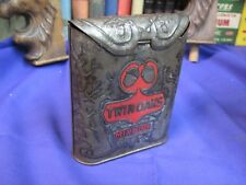 TWIN OAKS TOBACCO TIN ROLL TOP VERTICAL UPRIGHT  POCKET CAN- VINTAGE ANTIQUE
