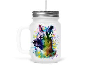 Henkelglas Trinkglas Glas mit Strohhalm Deckel Schäferhund Hunde Dog Geschenk