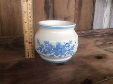 Vase , Planter , Pot , Pottery With Robin Blue Design , Marked On Bottom