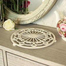 Cream round kitchen trivet shabby country chic vintage surface home accessories