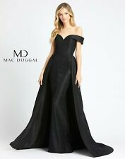 MAC DUGGAL 12123D Black Off Shoulder Lace Fit & Flare Over-Skirt Ball-Gown 10 US
